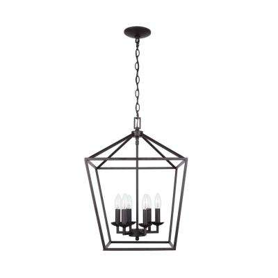 Weyburn 6-Light Bronze Caged Chandelier