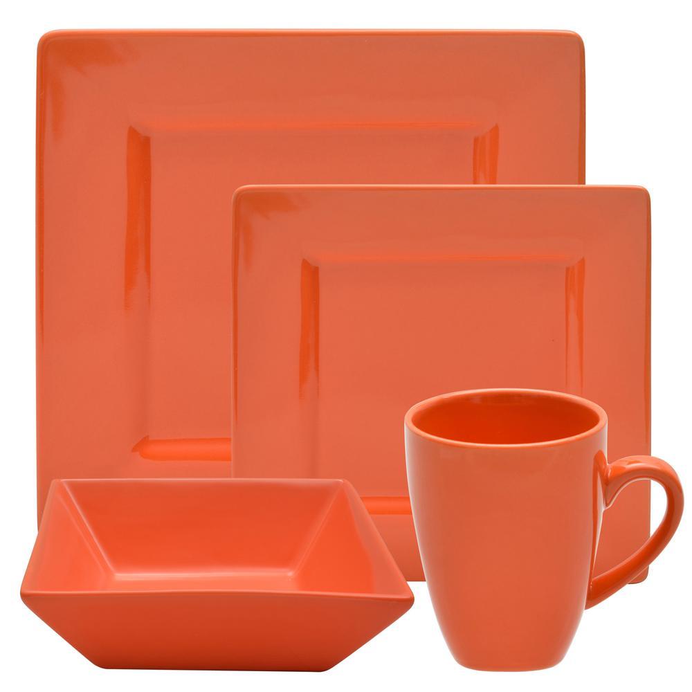 Nova 16-Piece Orange Square Dinnerware Set