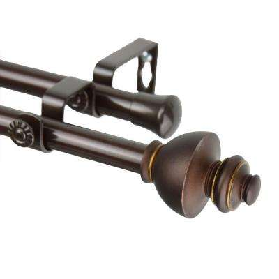 66 in. - 120 in. Double Telescoping Curtain Rod in Cocoa with Dynasty Finial