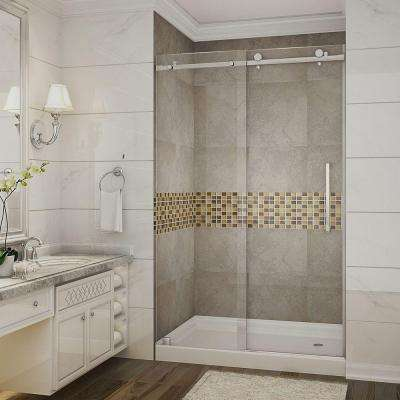 Moselle 48 in. x 77.5 in. Completely Frameless Sliding Shower Door with Base and Right Drain in Stainless Steel