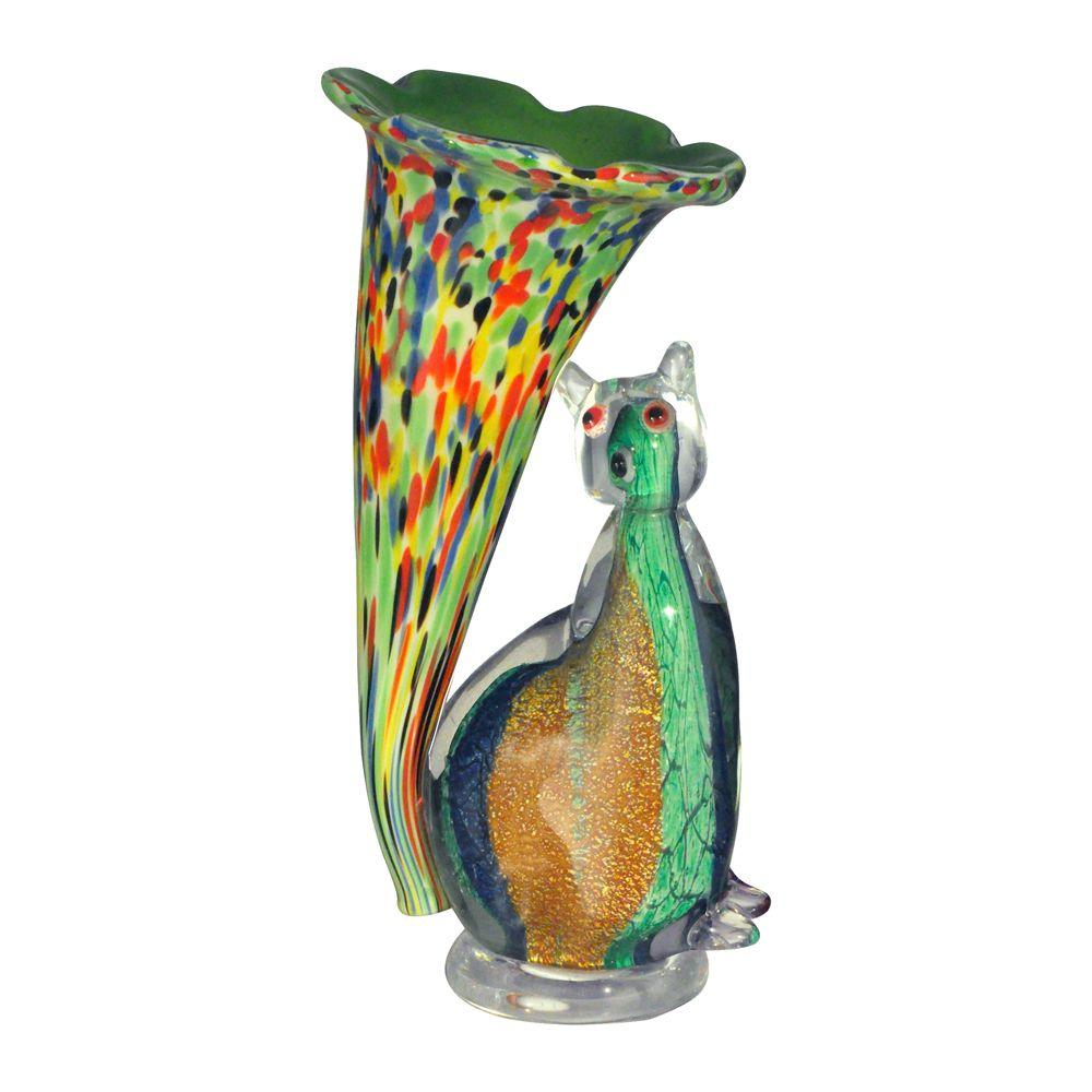 10.25 in. Cat Lily Favrile Green Accent Lamp with Art Glass