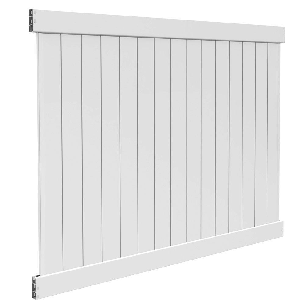 Bryce 6 ft. H x 8 ft. W White Vinyl Un-Assembled Fence Panel