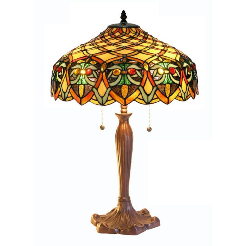 Warehouse Of Tiffany 25 In Ariel Bronze Table Lamp With Stained