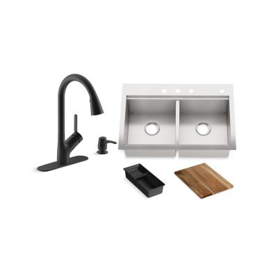 Lyric Workstation 33 in. Dual Mount Stainless Steel Double Bowl Kitchen Sink with Setra Touchless Kitchen Faucet