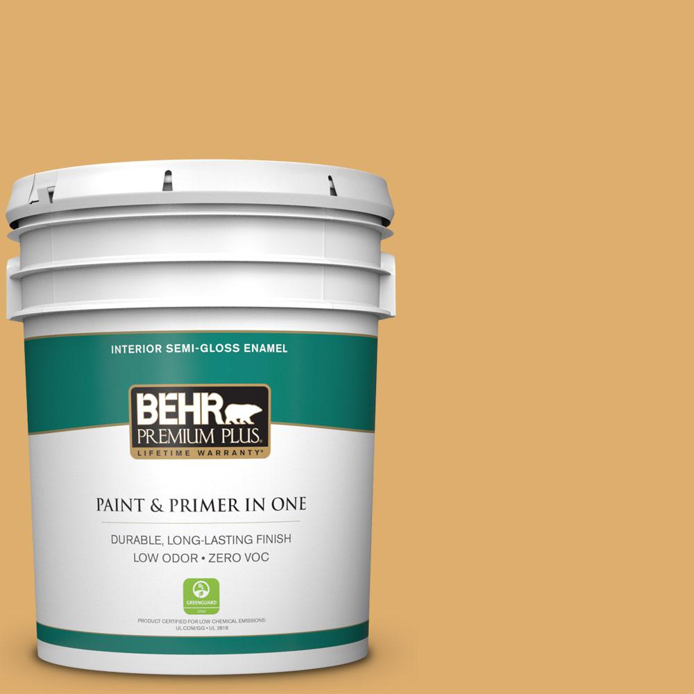 BEHR Premium Plus 5-gal. #320D-5 Sweet Maple Zero VOC Semi-Gloss Enamel Interior Paint