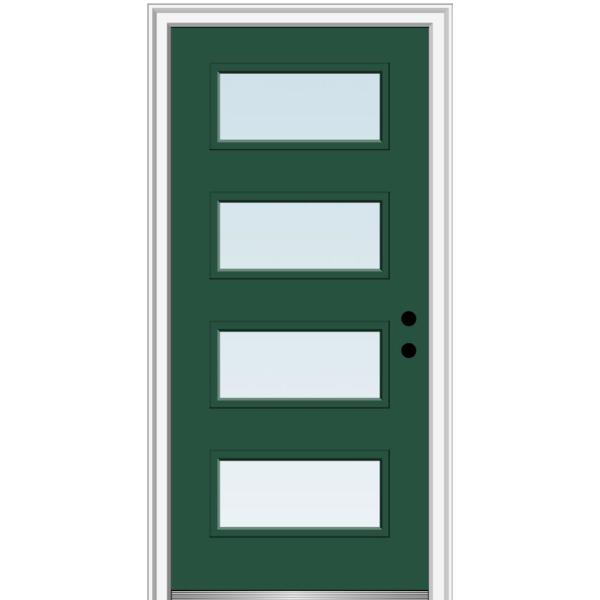 Mmi Door 36 In X 80 In Celeste Left Hand Inswing 4 Lite Clear Low E Glass Painted Steel Prehung Front Door On 4 9 16 In Frame Z0351022l The Home Depot