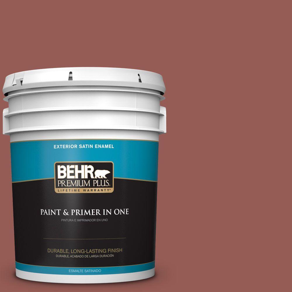 BEHR Premium Plus 5-gal. #ECC-34-3 Terra Cotta Sun Satin Enamel Exterior Paint