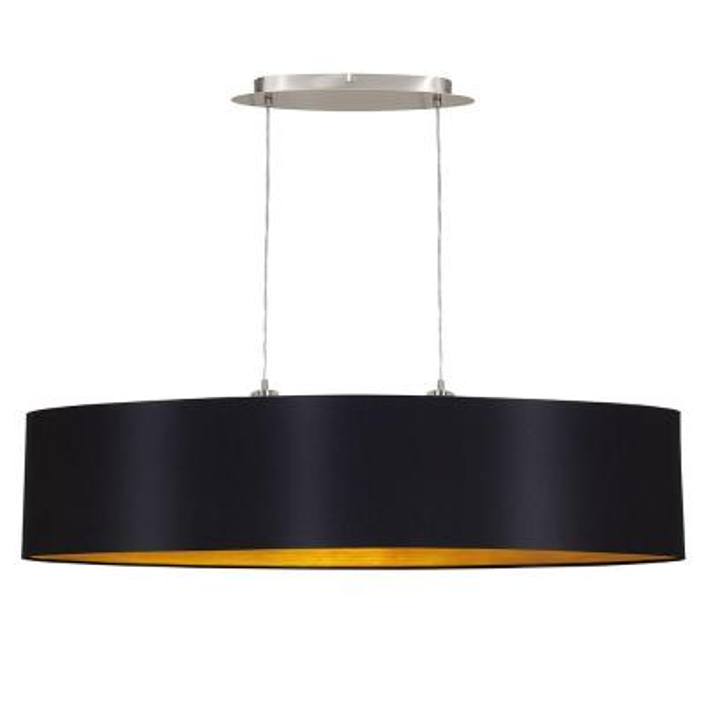 Maserlo 2-Light Black and Chrome Pendant Light