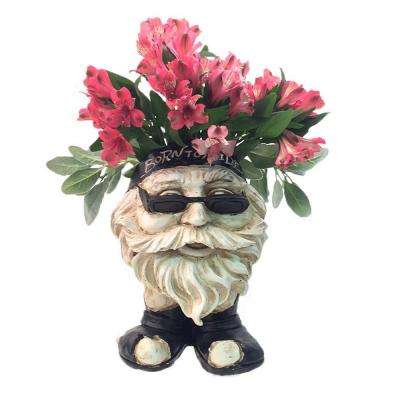 13 in. H Biker Dude Antique White Muggly Face Planter in Motorcycle Attire Statue Holds 4 in. Pot