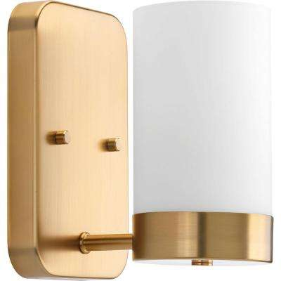 Elevate Collection 1-Light Brushed Bronze Bath Sconce with White Glass Shade