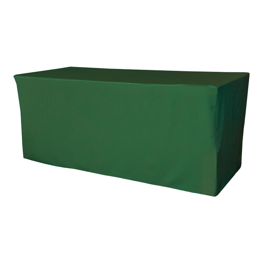 72 in. L x 24 in. W x 30 in. H Emerald Green Polyester Poplin Fitted Tablecloth