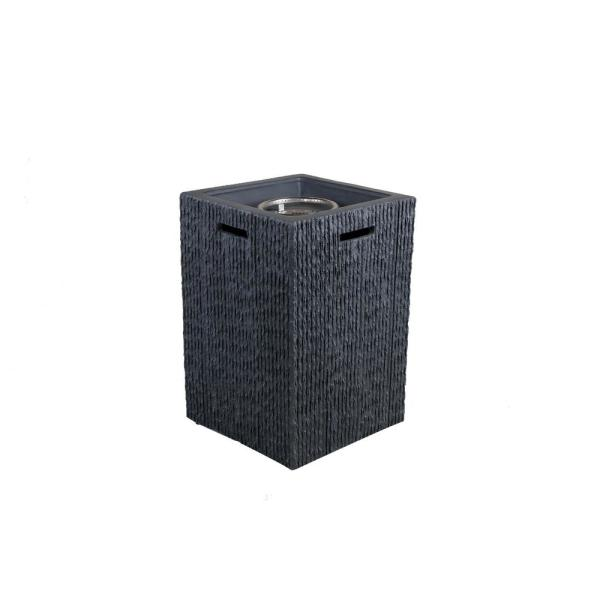 19.69 in. W x 29.13 in. H Square Propane Black Gas Fire Pit Kit with Lava Rocks