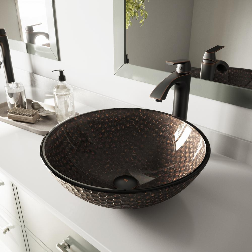 Beau VIGO Glass Vessel Sink In Copper Shield And Linus Faucet Set In Antique  Rubbed Bronze