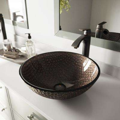 Glass Vessel Sink in Copper Shield and Linus Faucet Set in Antique Rubbed Bronze