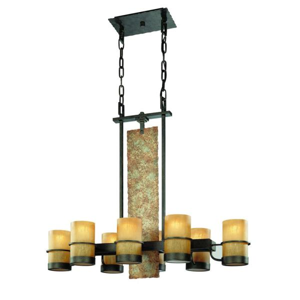 Bamboo 8-Light Bamboo Bronze with Natural Slate Island Pendant