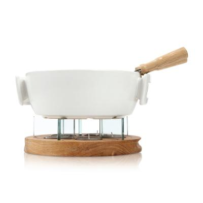 Exclusive Collection 6-Piece Ceramic Fondue Set in White with Tea Lights