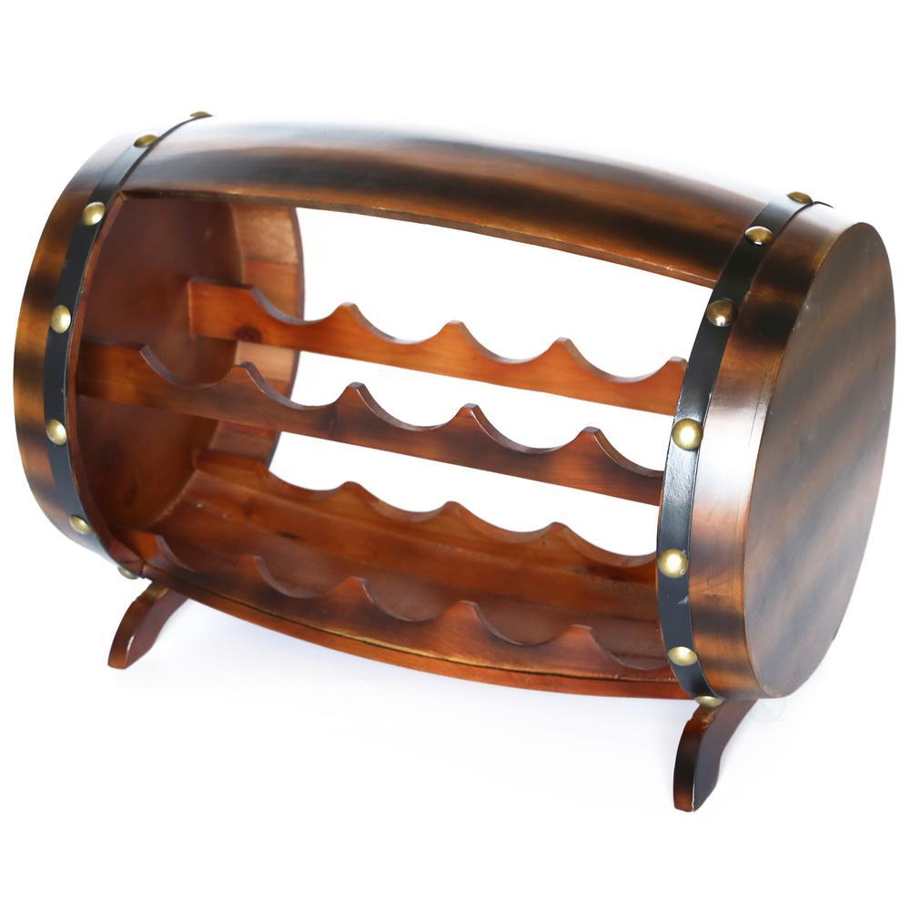 10-Bottle Cherry Brown Wooden Barrel Shaped Wine Rack with Decorative Wine Holder