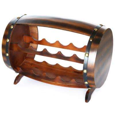 10-Bottle Cherry Brown Wooden Barrel Shaped Wine Rack with Decorative Wine Holder