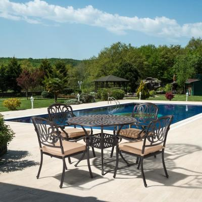 Classic Dark Brown 5-Piece Cast Aluminum Outdoor Dining Set with Round Table and Stackable Chairs with Beige Cushions