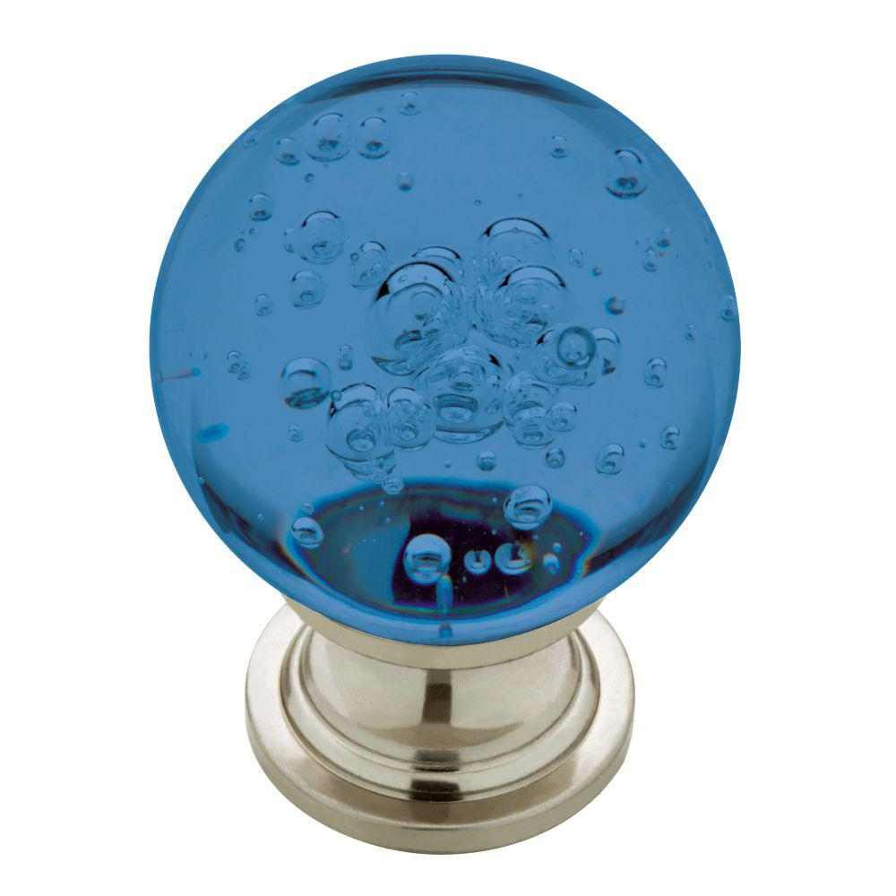 Superbe Satin Nickel With Blue Bubble Glass Cabinet Knob