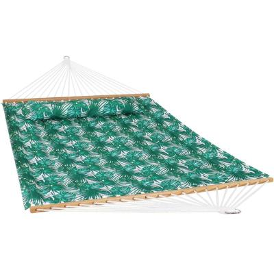 128 in. L Green Palm Leaves Spreader Bar Hammock Bed