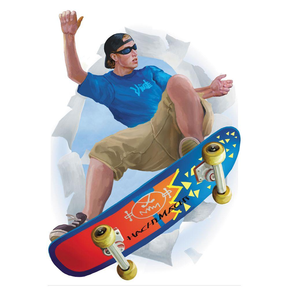 The Wallpaper Company 18.5 in. x 27 in. Blue and Orange Skate Boarded Break Out-DISCONTINUED
