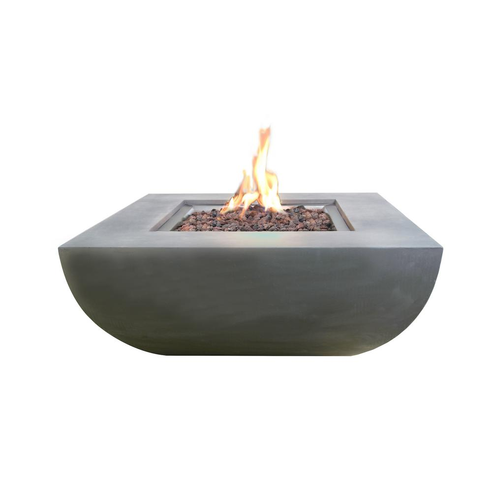 Modeno Westport 34 in. x 14 in. Grey Round Concrete Propane Pit Table with Electronic Ignition Cover and Lava Rock