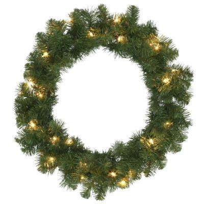 24 in. Pre-Lit Kingston Artificial Christmas Wreath with Clear Lights