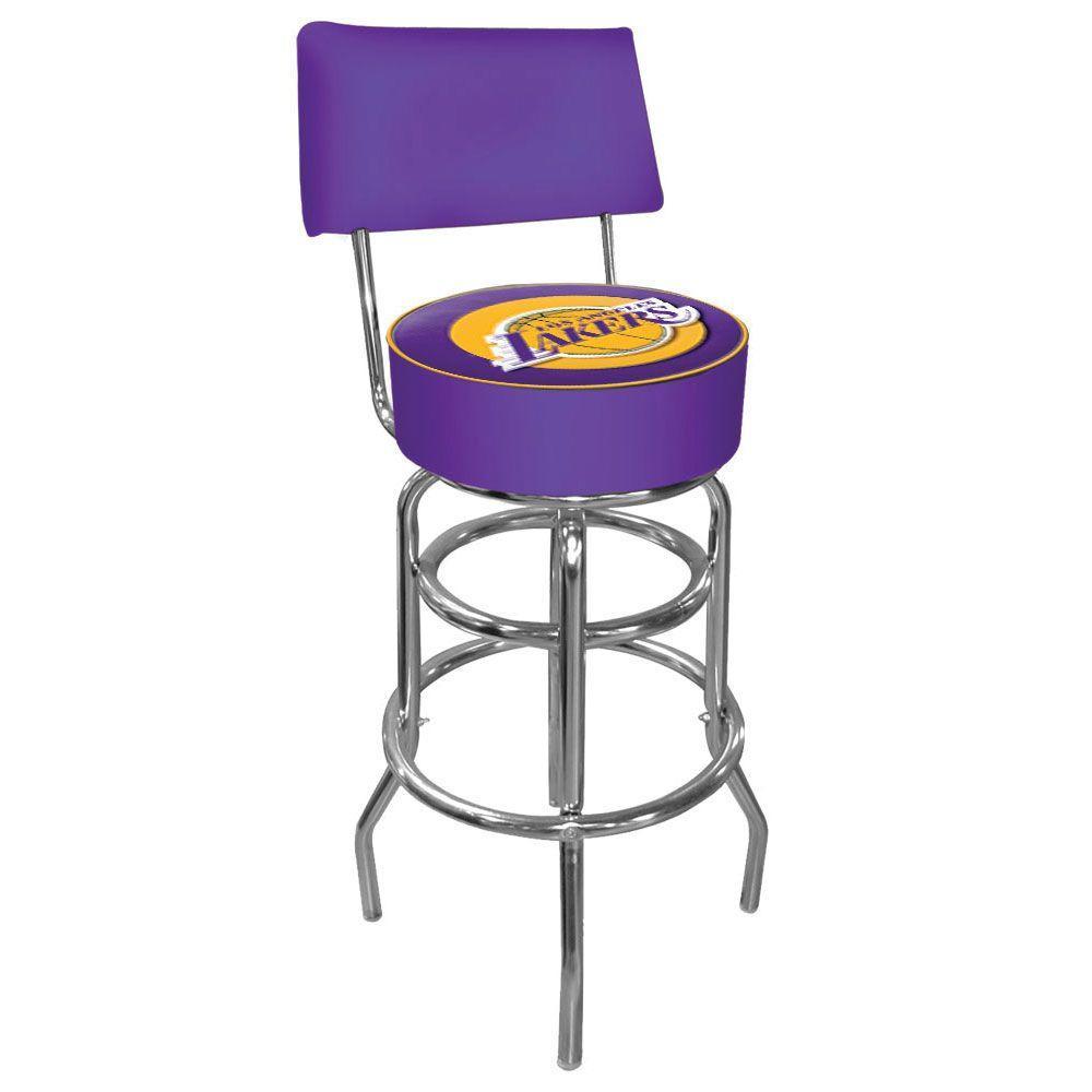 Los Angeles Lakers NBA 30 in. Chrome Padded Swivel Bar Stool