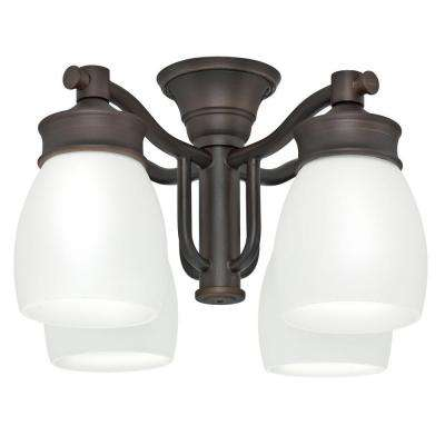4-Light Brushed Cocoa Bronze Ceiling Fan Fixture with Cased White Glass
