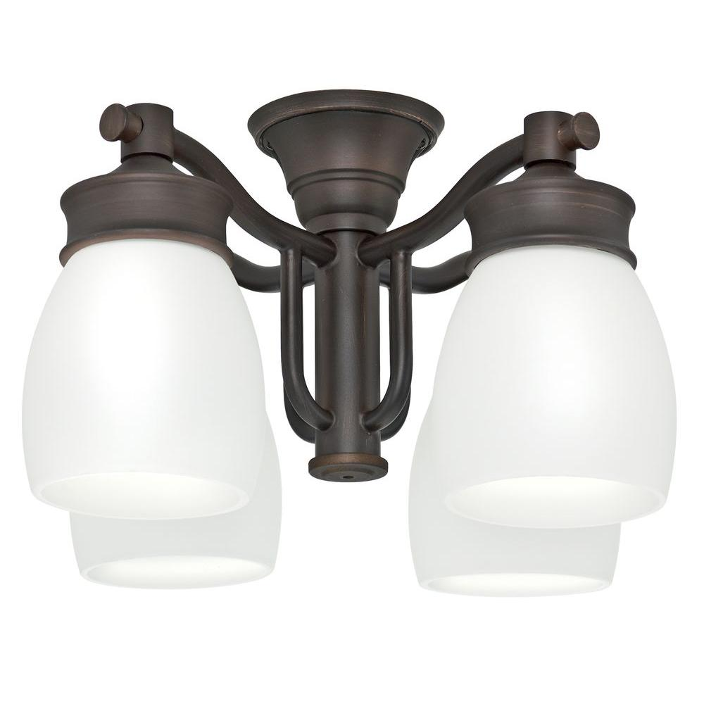 Casablanca 4-Light Brushed Cocoa Bronze Ceiling Fan Fixture with Cased White Glass