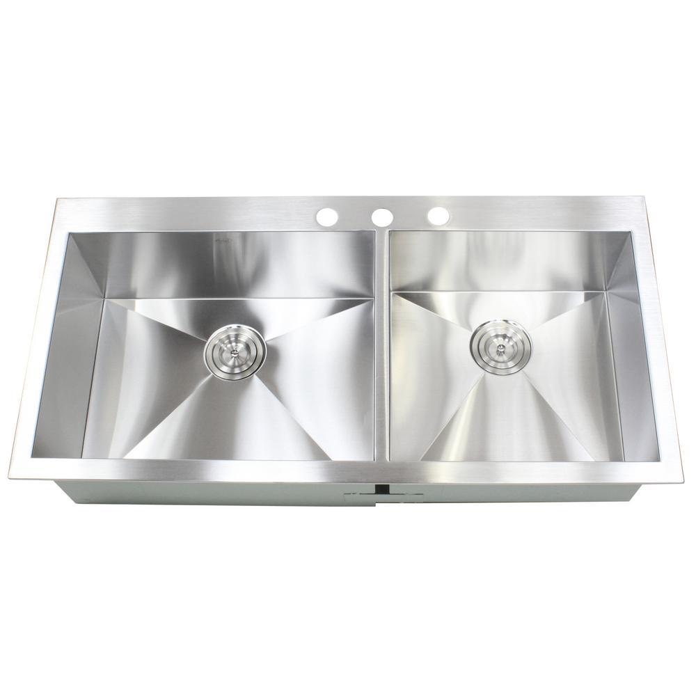 Topmount / Drop-in 16-Gauge 42-7/8 in. x 21-1/2 in. x 10 in. Stainless Steel Double Bowl 60/40 Zero Radius Kitchen Sink