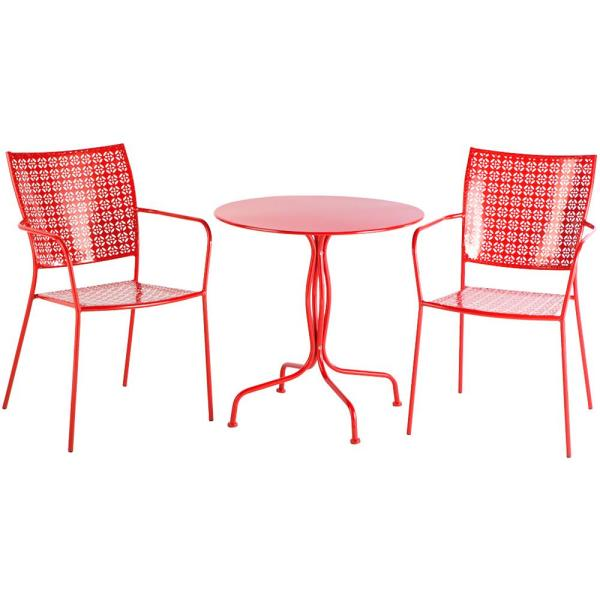 Martini Cherry Pie (3-Piece) Metal Outdoor Bistro Set with Round 28 in. Bistro Table and 2 Stackable Bistro Chairs