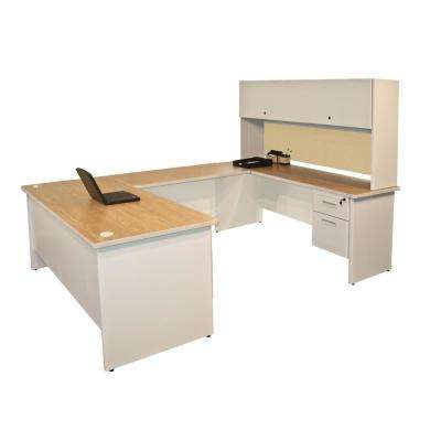 8 ft. 6 in. W x 6 ft. D Putty and Beryl U-Shaped Desk with Flipper Door Unit