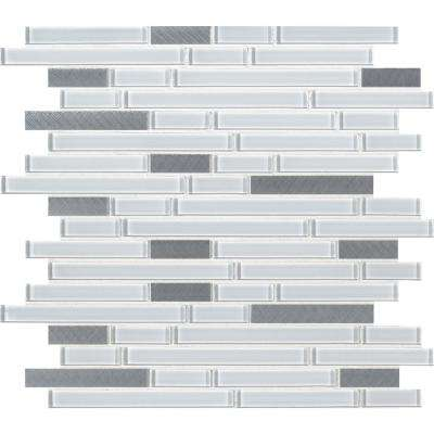 Lucid Sky Interlocking 12 in. x 12 in. x 4mm Glass Metal Mesh-Mounted Mosaic Tile