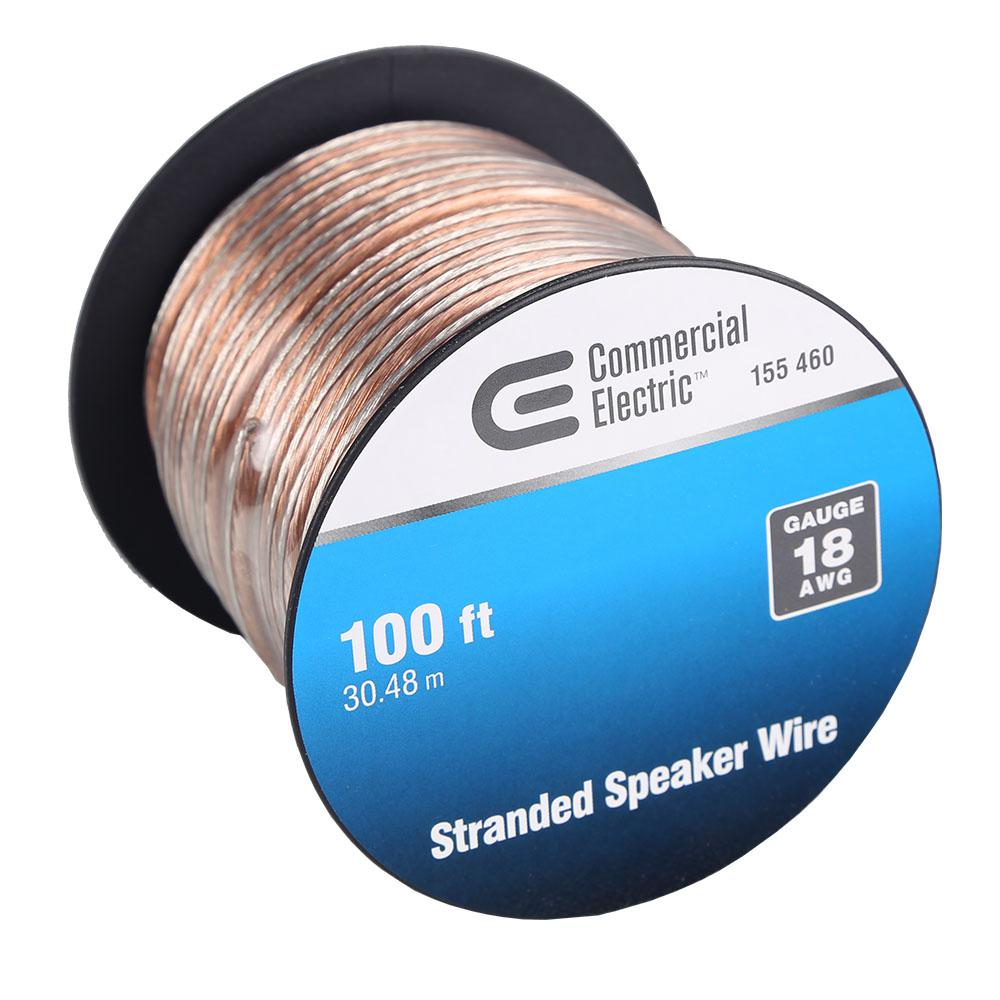 100/' ft 18 Gauge Clear Stranded Speaker Wire Home Car Stereo Audio Cable Wiring