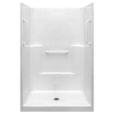 Ultimate-W 37 in. x 48 in. x 80 in. 1-Piece Low Threshold Shower Stall in White with White Grab Bars and Center Drain