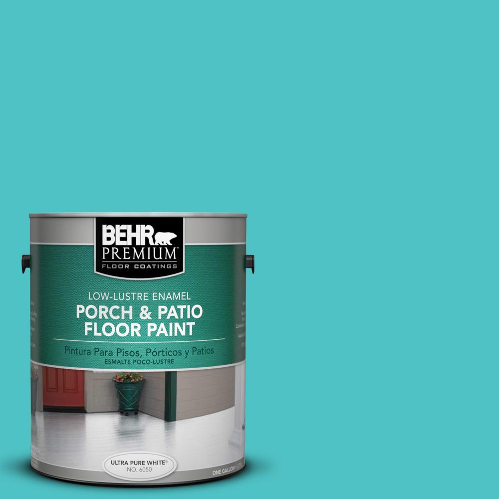 1 gal. #500B-4 Gem Turquoise Low-Lustre Interior/Exterior Porch and Patio Floor Paint