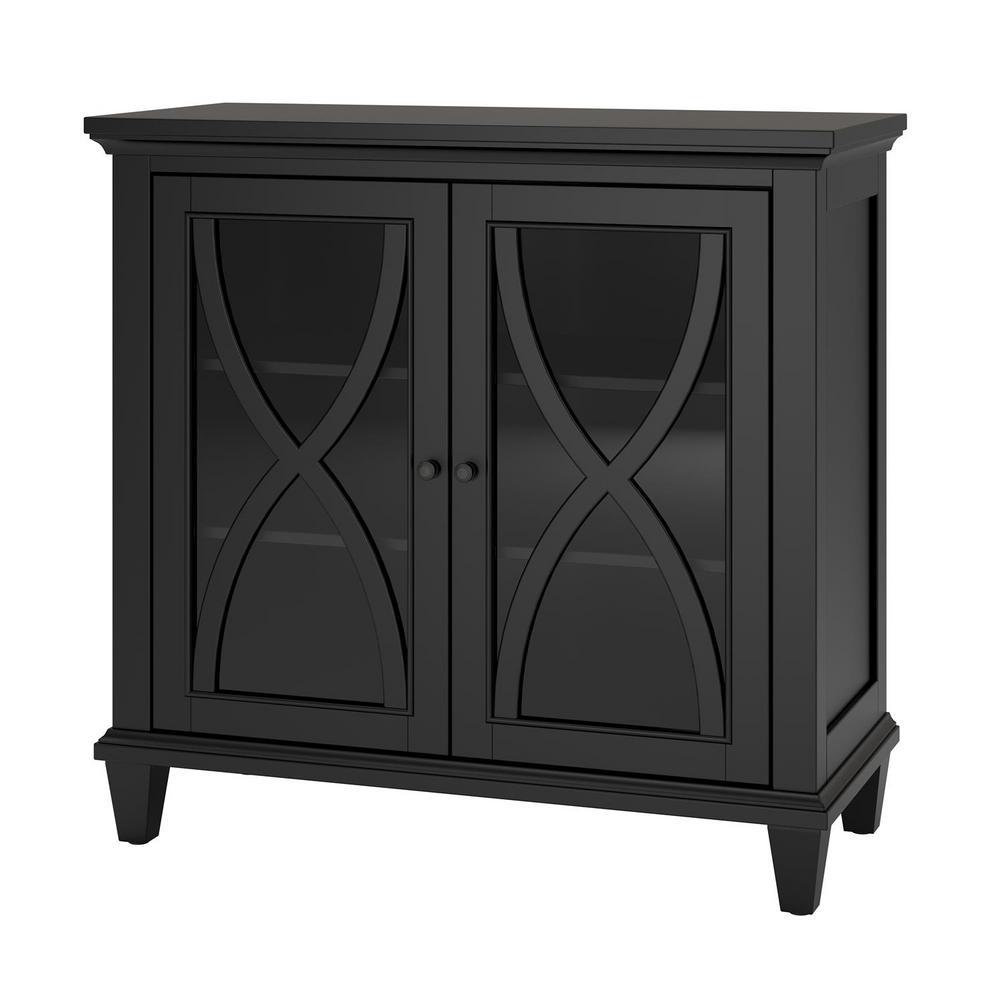 Satinwood 2-Door Black Accent Cabinet