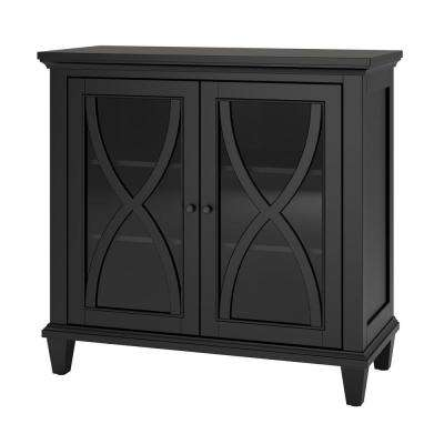 Satinwood 2-Door Black Accent Cabinet