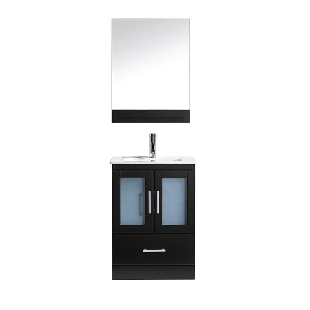 Virtu USA Zola 24 in. W Bath Vanity in Espresso with Ceramic Vanity Top in White with Square Basin and Mirror and Faucet