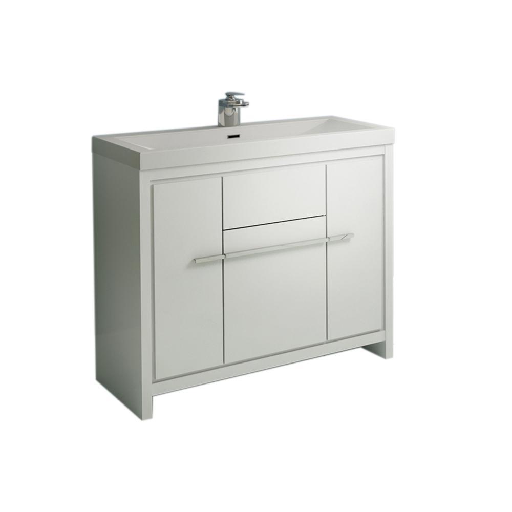 The Modern 35.625 in. W x 18.75 in. D Bath Vanity in White with Acrylic Vanity Top in White with White Basin
