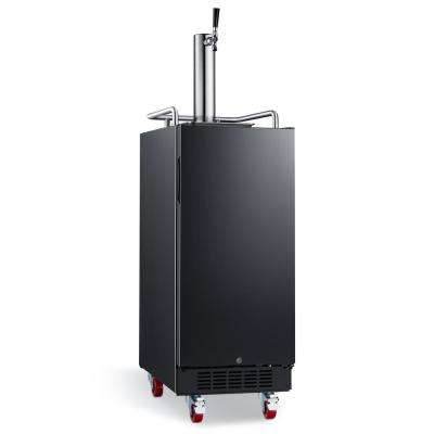 Single Tap 15 in. 1/4 Barrel Beer Keg Dispenser with Forced Air Refrigeration and Air Cooled Beer Tower in Black
