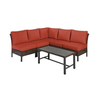 Harper Creek 6-Piece Brown Steel Outdoor Patio Sectional Sofa Seating Set with CushionGuard Quarry Red Cushions