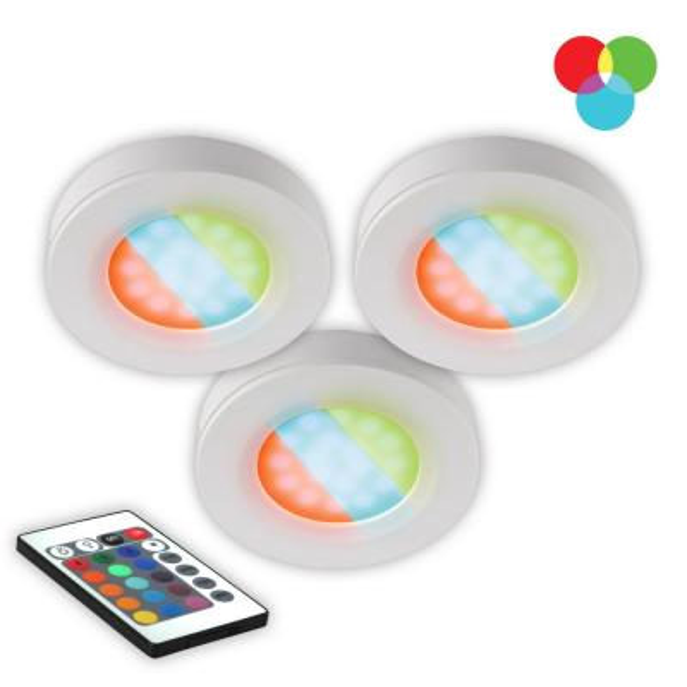 LED RGB Under Cabinet Puck Light (3-Pack)
