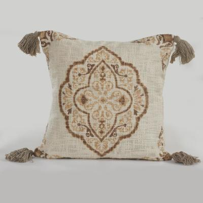 Beige and Brown Floral Hypoallergenic Polyester 18 in. x 18 in. Throw Pillow