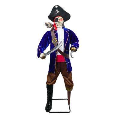 72 in. Skeleton Pirate with Talking Zombie Parrot