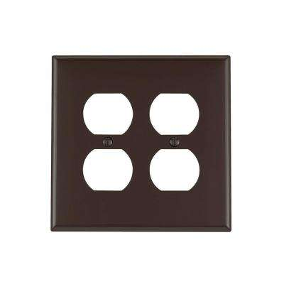 2-Gang Midway Duplex Outlet Nylon Wall Plate, Brown