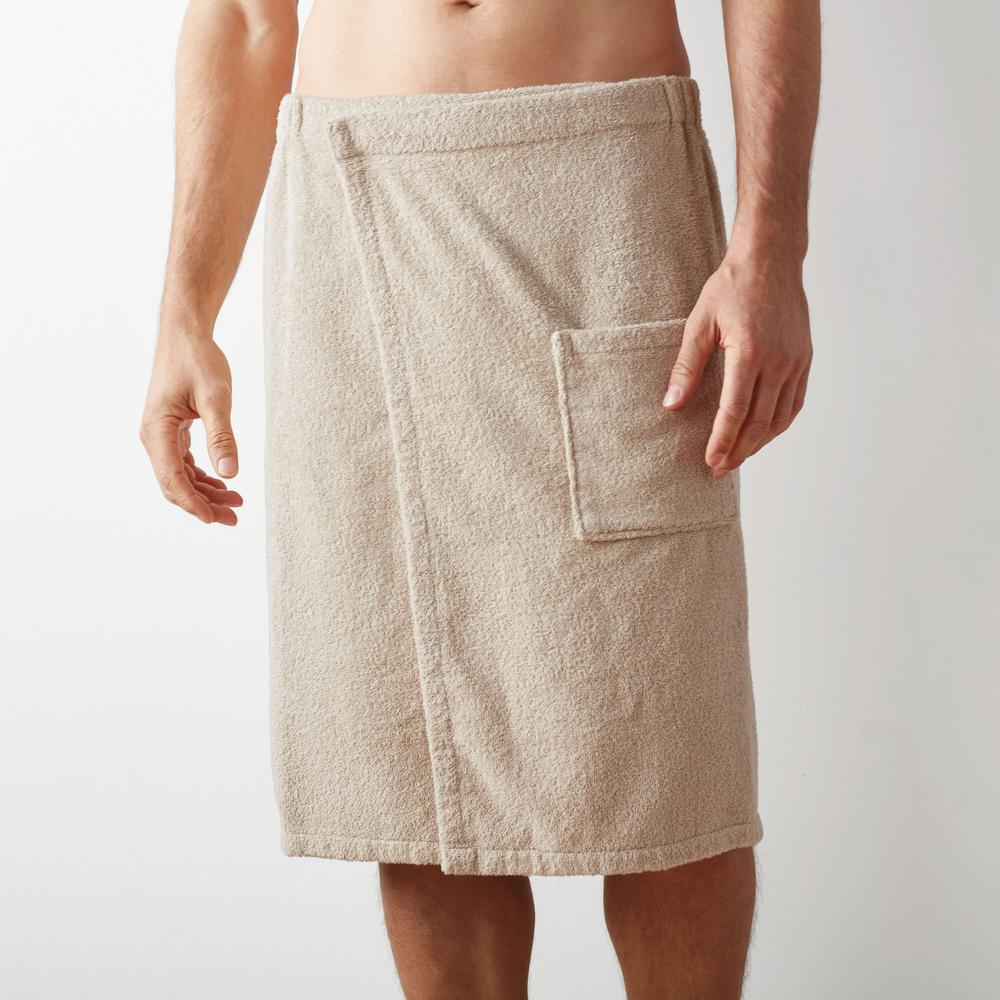 1d1dbe6672 The Company Store Company Cotton Men s Large Extra Large Jute Bath Wrap-RL10-LXL-JUTE  - The Home Depot