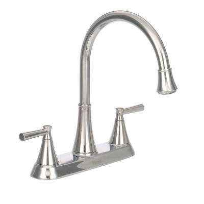 Cantara High-Arc 2-Handle Standard Kitchen Faucet with Side Sprayer in Polished Chrome